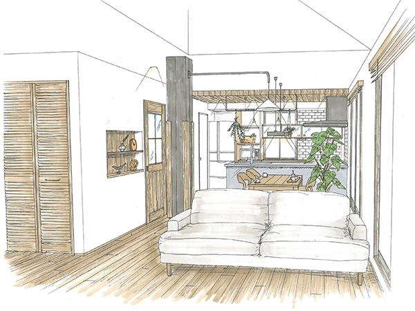 現在、お父様がお一人で暮らされているご主人のご実家をリノベーションして2世帯住宅に。1階にお父様スペース、2階に子世帯のLDKスペースを。水廻り設備も1階、2階に設け、一緒に暮らしながらそれぞれの生活を独立させたプランです。キッチン、洗面、クローゼットを回遊動線で繋げて、これから家族が増える奥様が少しでも楽が出来るように、使い勝手のよい家事動線にしてます。2階LDKスペースは、オールステンレスのキッチンと随所に設けた木、無垢の床、すっきり片付く食器棚など、これからの生活がより楽しく暮らして頂ける空間にリノベーションします。